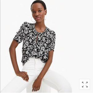 NWT Jcrew Ruched-sleeve top in floral print